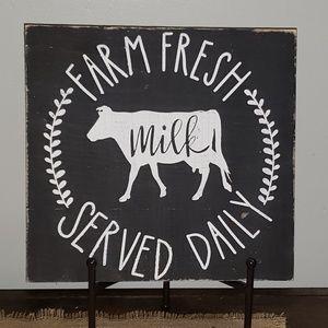 NEW Handmade Farm Fresh Milk Served Daily Sign